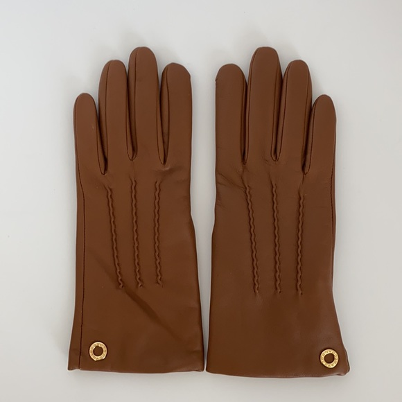 Coach Classic Leather Gloves Saddle Brown 6.5